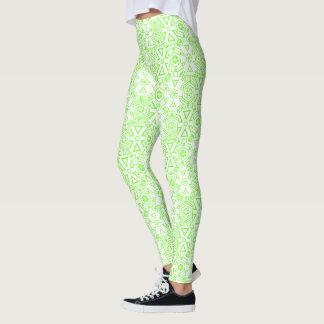 Neon Green & White Graphic Snowflake Leggings