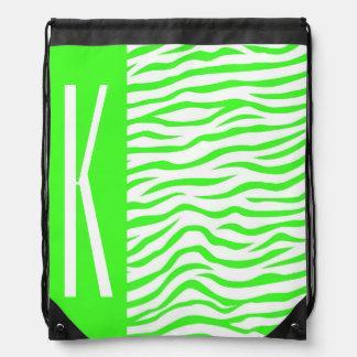 Neon Green & White Zebra Stripes Animal Print Rucksacks