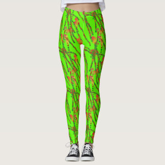 Neon Green with Organic Orange Squiggles Leggings