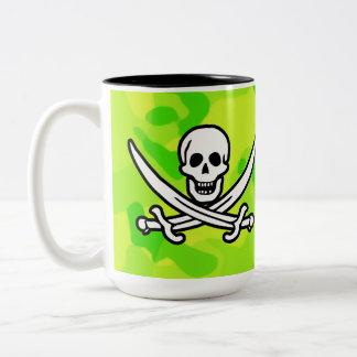 Neon Green Yellow Camo; Pirate Two-Tone Mug