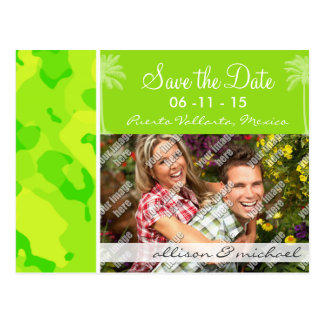 Neon Green Yellow Camo Tropical Palm Tree Post Cards