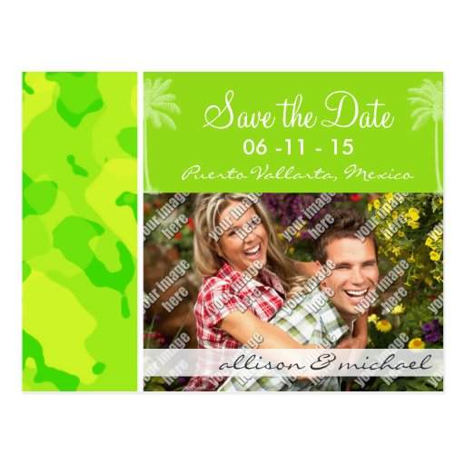 Neon Green Yellow Camo; Tropical Palm Tree Post Cards