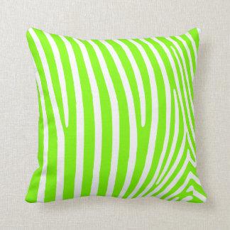 Neon Green Zebra Pattern Cushion