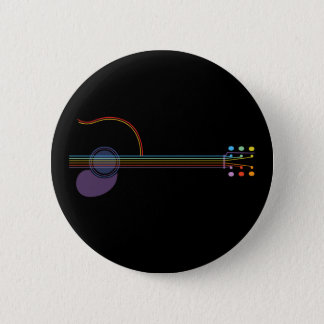 Neon Guitar 6 Cm Round Badge