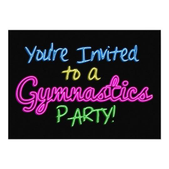 Neon Gymnastics Party Invitation