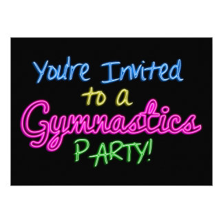 Neon Gymnastics Party Invitation