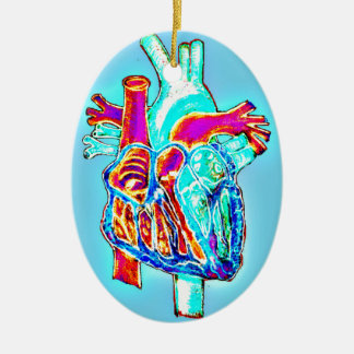 Neon Hand Drawn Anatomical Heart Christmas Ornament