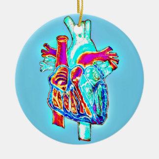 Neon Hand Drawn Anatomical Heart Round Ceramic Decoration