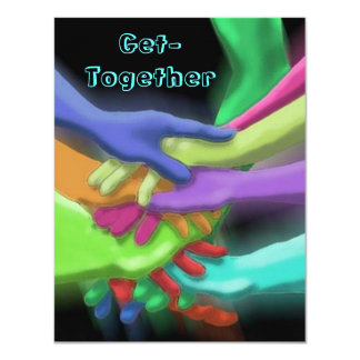 "NEON HANDS STACKED GET-TOGETHER PARTY INVITATION 4.25"" X 5.5"" INVITATION CARD"