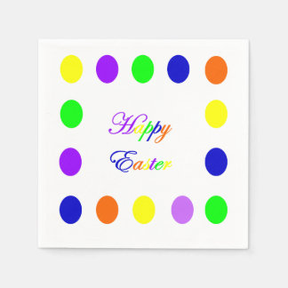 Neon Happy Easter Paper Napkins