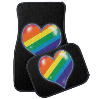 Neon Heart Rainbow on Black Floor Mat