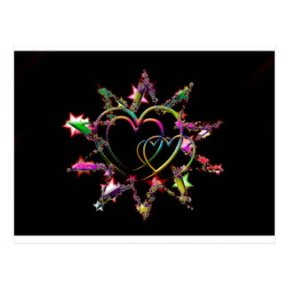 Neon Hearts in Starburst Postcard