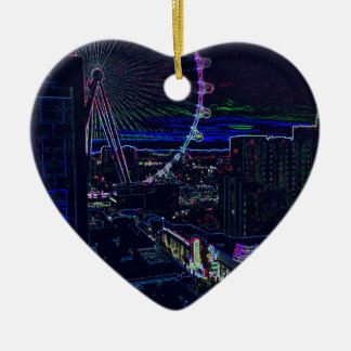 Neon High Roller Ferris Wheel Abstract Vegas Ceramic Heart Decoration