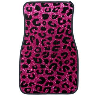 Neon hot pink cheetah print pattern floor mat