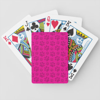 Neon hot pink dog paw print pattern bicycle playing cards