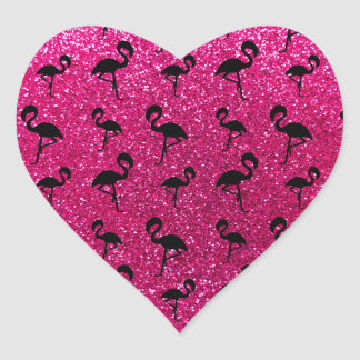 Neon hot pink glitter flamingos heart sticker