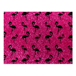 Neon hot pink glitter flamingos postcard