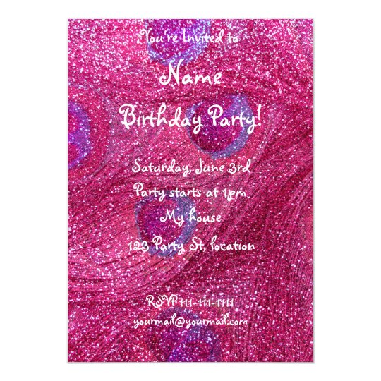 neon hot pink glitter peacock feathers card