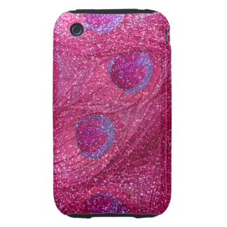 neon hot pink glitter peacock feathers tough iPhone 3 cases