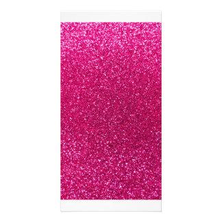 Neon hot pink glitter photo card template