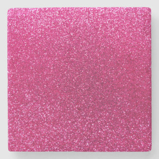 Neon hot pink glitter stone coaster