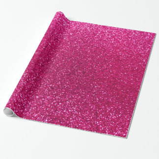 Neon hot pink glitter gift wrapping paper