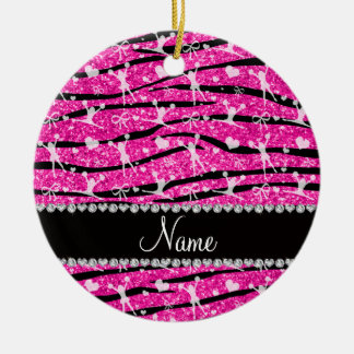 Neon hot pink glitter zebra stripes cheerleading round ceramic decoration