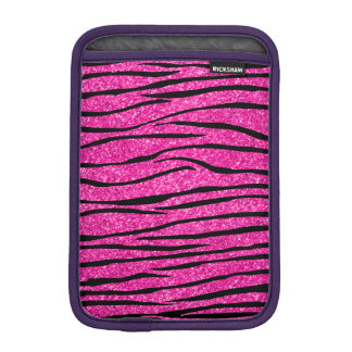 Neon hot pink glitter zebra stripes iPad mini sleeve