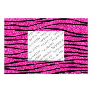 Neon hot pink glitter zebra stripes photo print