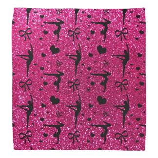 Neon hot pink gymnastics glitter pattern bandana