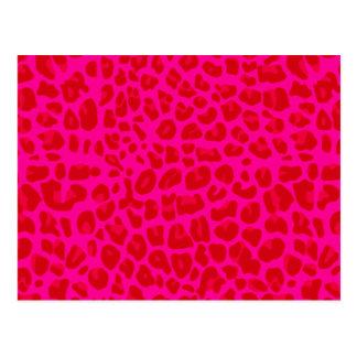 Neon hot pink leopard print pattern postcard
