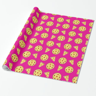 Neon hot pink pizza pattern wrapping paper
