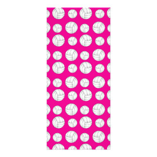 Neon hot pink volleyballs pattern rack card template