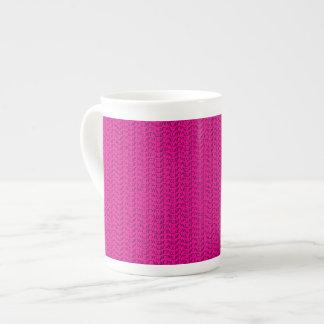 Neon Hot Pink Weave Mesh Look Bone China Mug
