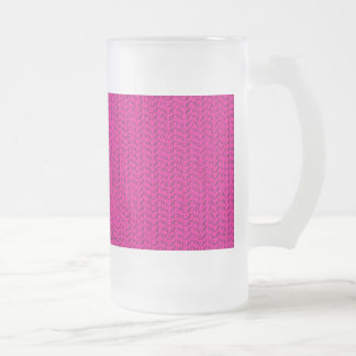 Neon Hot Pink Weave Mesh Look Frosted Glass Mug