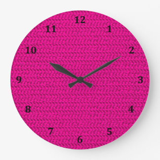 Neon Hot Pink Weave Mesh Look Large Clock