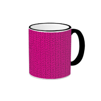 Neon Hot Pink Weave Mesh Look Ringer Mug