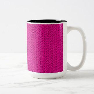 Neon Hot Pink Weave Mesh Look Two-Tone Mug