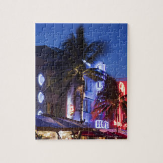 Neon hotel at night, Ocean Drive, South Miami Beac Jigsaw Puzzle