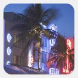 Neon hotel at night, Ocean Drive, South Miami Beac Square Sticker