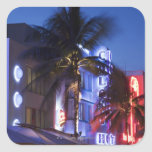 Neon hotel at night, Ocean Drive, South Miami Beac Square Stickers