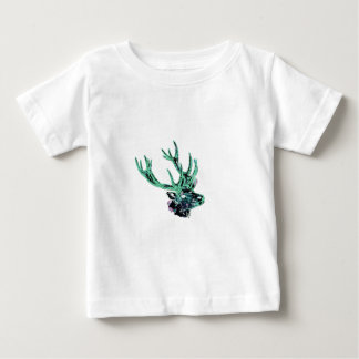 Neon Inverted Green and Purple Floral Stag Head Baby T-Shirt