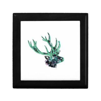 Neon Inverted Green and Purple Floral Stag Head Gift Box