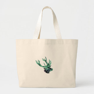 Neon Inverted Green and Purple Floral Stag Head Large Tote Bag