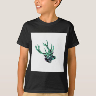 Neon Inverted Green and Purple Floral Stag Head T-Shirt