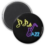 Neon Jazz Bar Sign 6 Cm Round Magnet