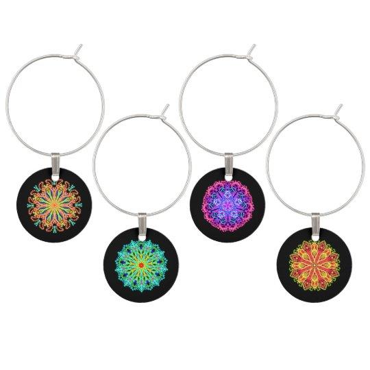 Neon jewel mandalas wine glass charm
