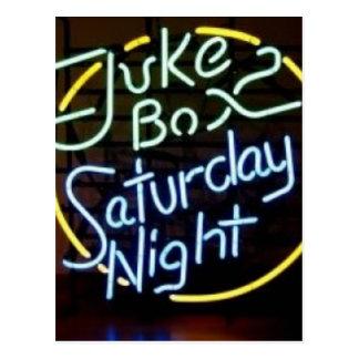 Neon Jukebox Sign Postcard