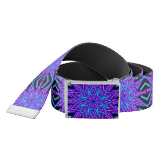 neon kaleidoscopic star / black reversible belt