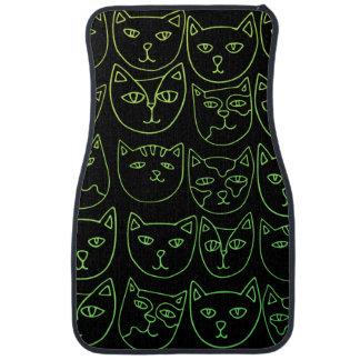 Neon kitty cats car mat